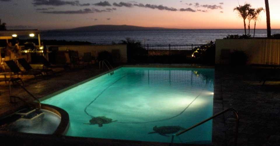 Slide 7 - Sunset at Shores of Maui pool